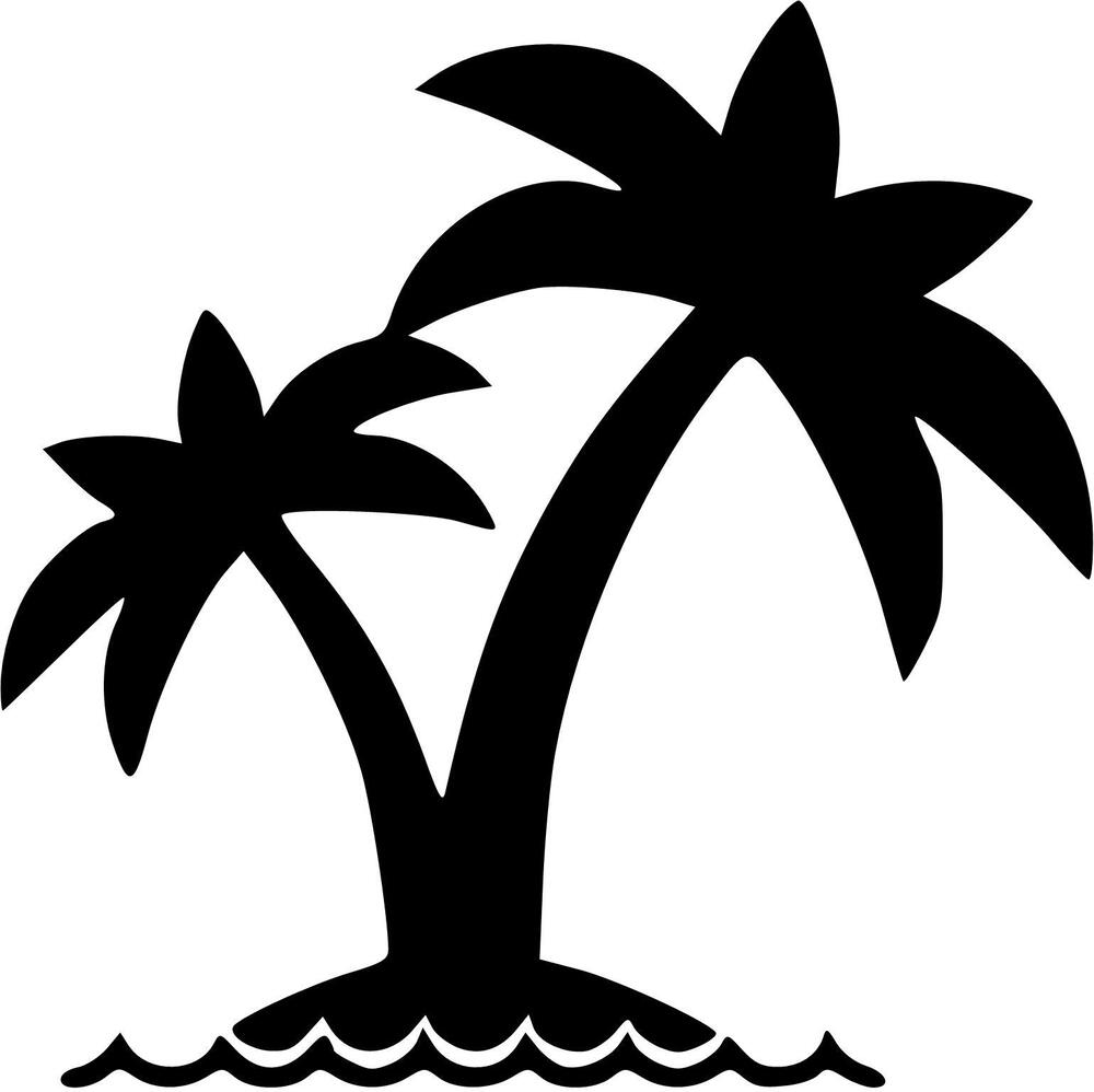 Palm tree with waves vinyl decal sticker u pick size 20 for Black and white tree mural