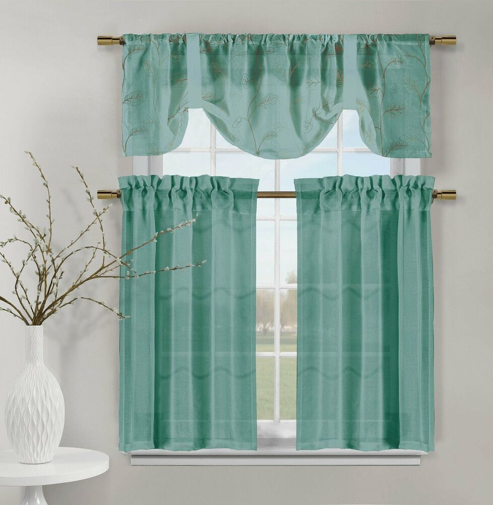 Kitchen Curtains And Valances: Teal Videira Gold Leaf Embroidery Kitchen Curtain Set