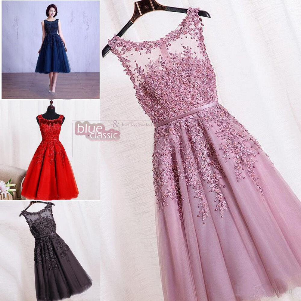Cheap lace knee length bridesmaid dresses formal cocktail for Cheap wedding dresses ebay