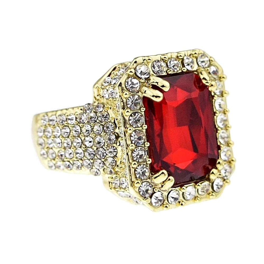 Red Stone Ring Faux Ruby Iced Out Gold Tone Men S Chunky