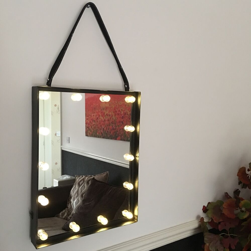 Led Light Up Hanging Wall Bathroom Mirror Industrial Dressing Vanity Mirror 48cm Ebay