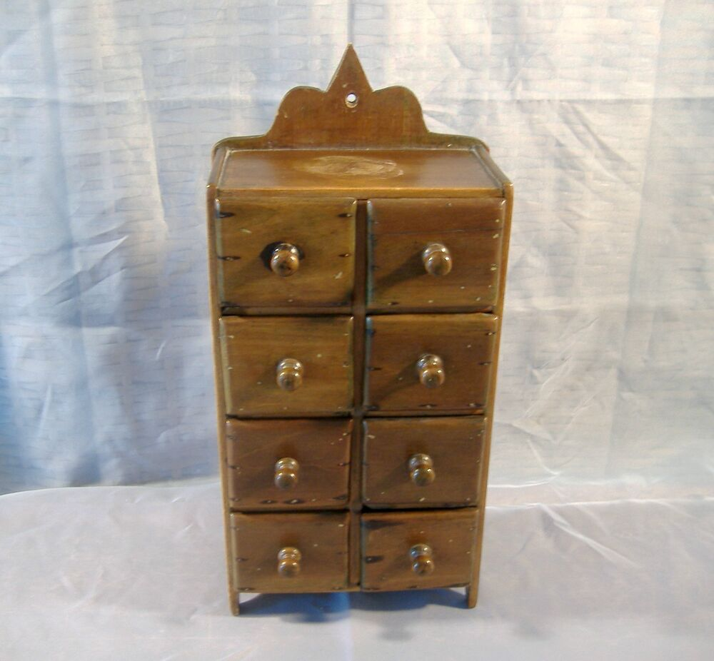Antique Primitive Eight Drawer Hanging Wood Wall Cabinet