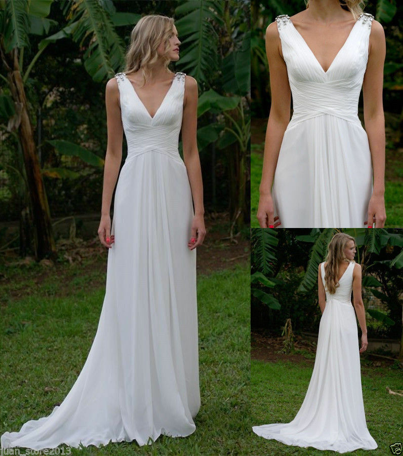Cheap Simple White V Neck Wedding Dresses Beach Chiffon