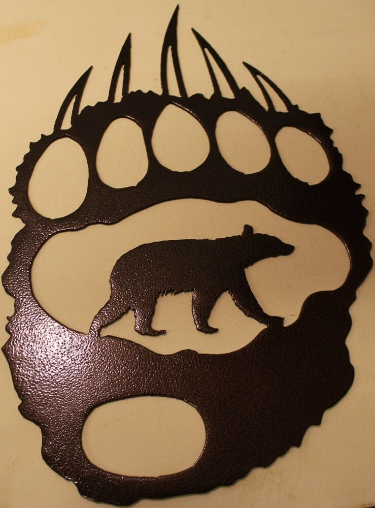 Bear Track With Bear Metal Wall Art Home Decor Copper Vein