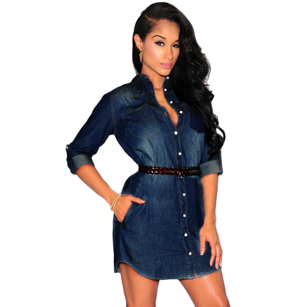 Fashion Women Dress Sexy Long Sleeve Denim Cowboy Casual Mini Shirt Dress Belt | eBay