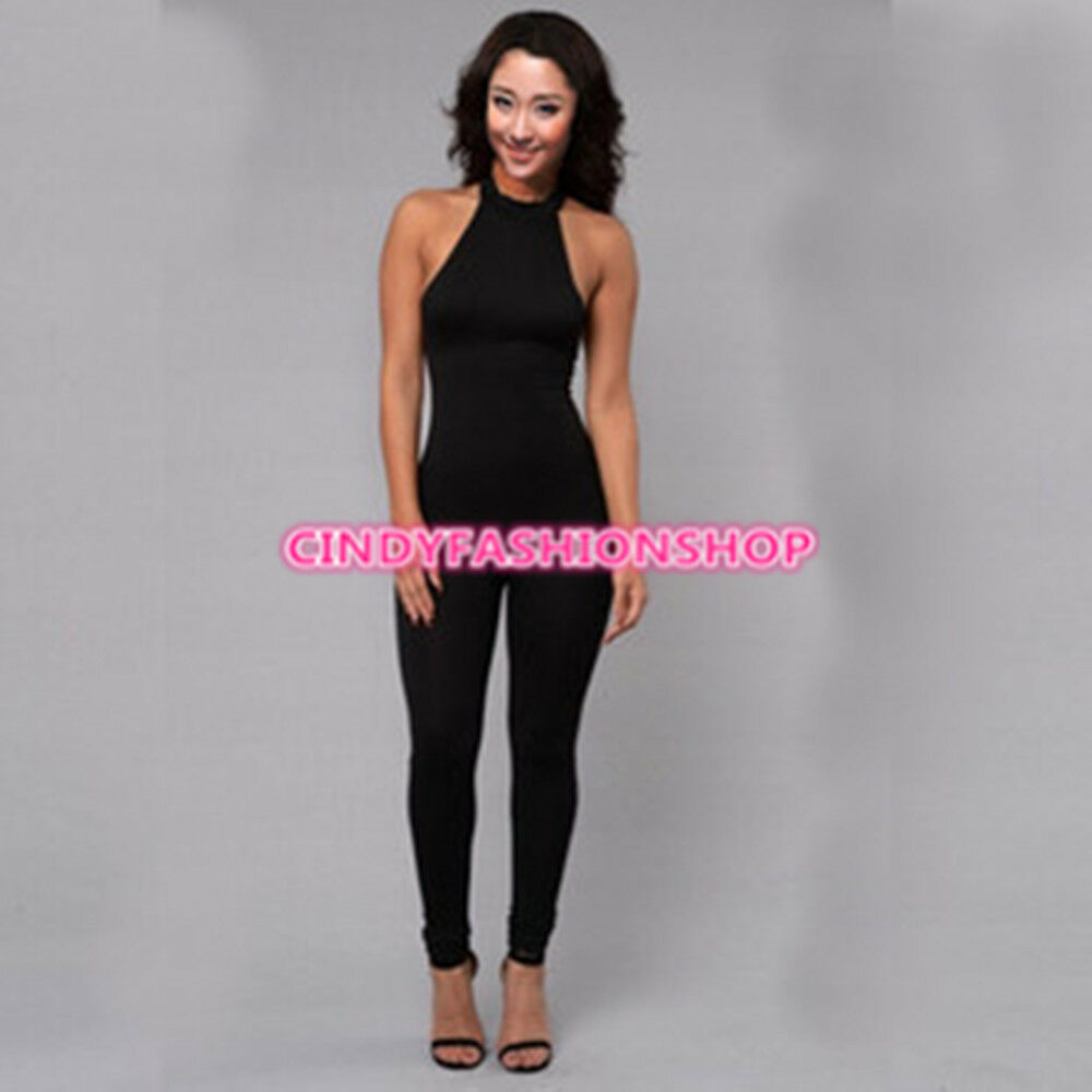 Elegant Women Sexy Halter Backless Club Jumpsuit & Rompers ...