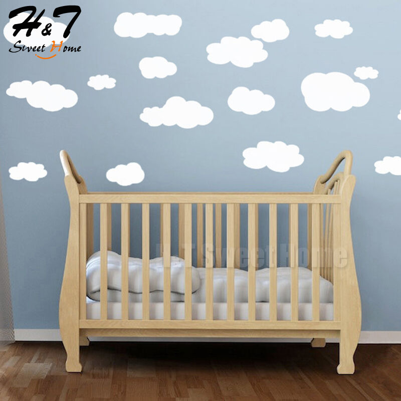 White clouds vinyl wall sticker decal removable art for Baby room decoration stickers