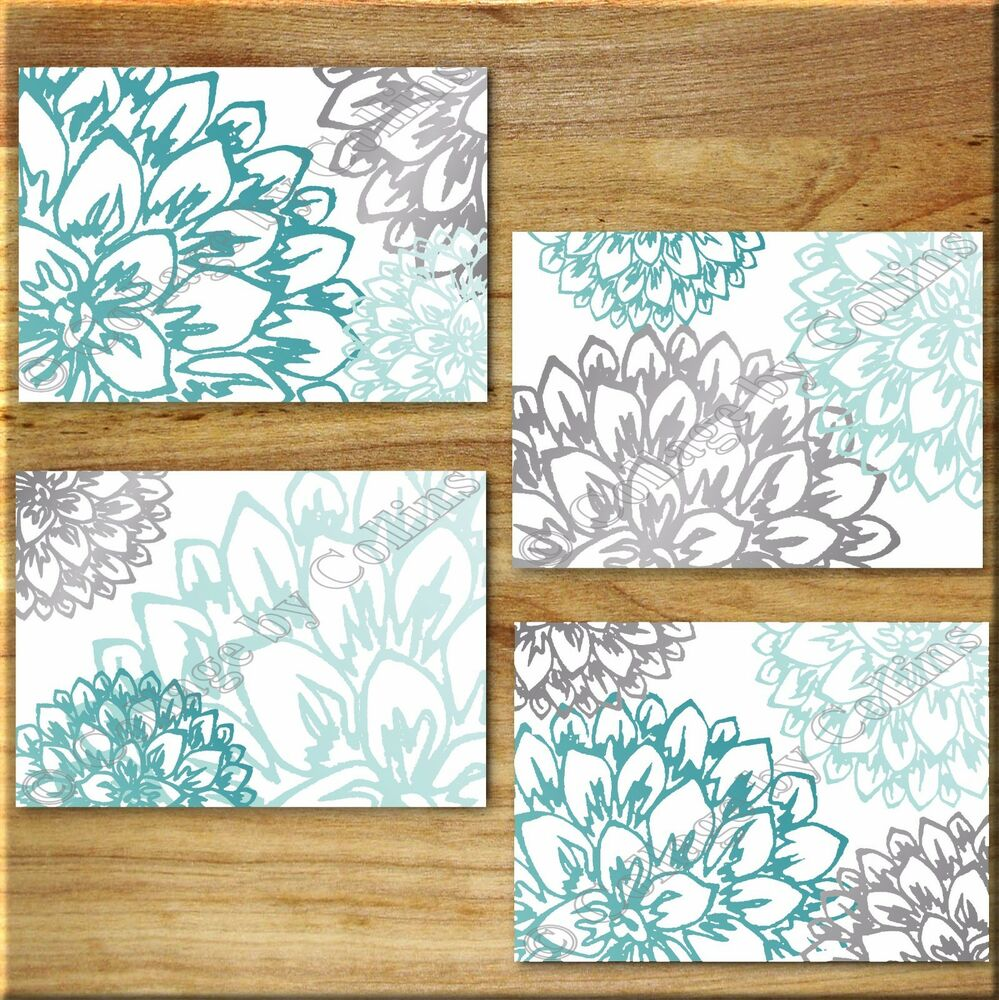 teal aqua turquoise gray wall art prints decor peony flower floral home dahlia ebay. Black Bedroom Furniture Sets. Home Design Ideas