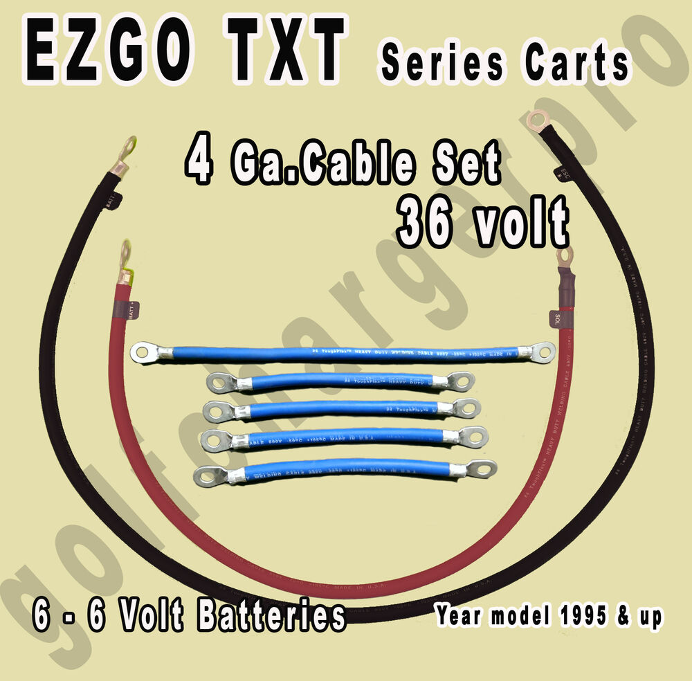 EZGO TXT Golf Cart 36 Volt 4 Gauge HEAVY DUTY Battery