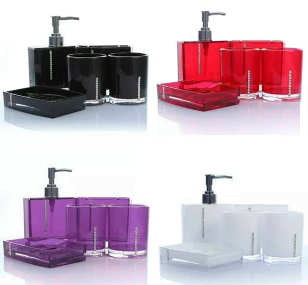 acrylic 5 pieces diamante soap dispenser accessories holder bathroom