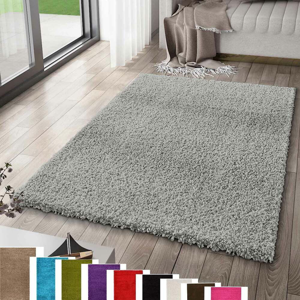 hochflor shaggy teppich grau modern unifarbe anthrazit top preis ebay. Black Bedroom Furniture Sets. Home Design Ideas