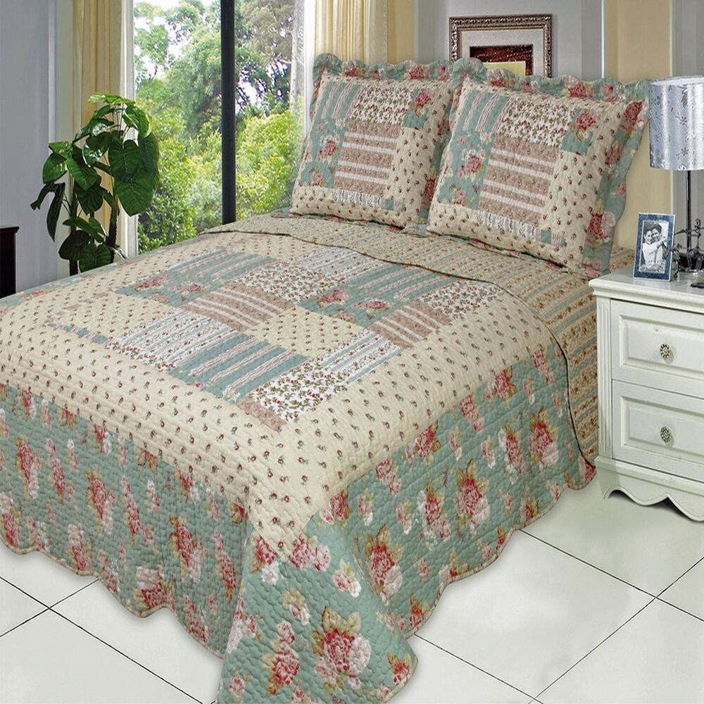 oversized annabel microfiber coverlet quilt with pillow shams all sizes ebay. Black Bedroom Furniture Sets. Home Design Ideas