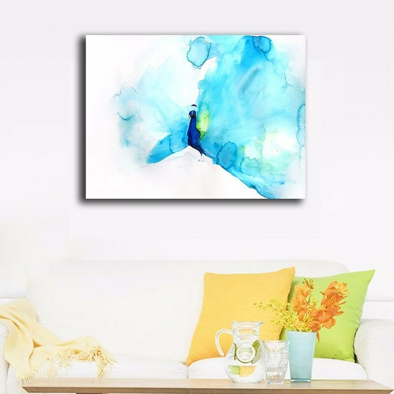 30 40 3cm Watercolor Peacock Canvas Prints Framed Wall Art Home Decor Painting Ebay
