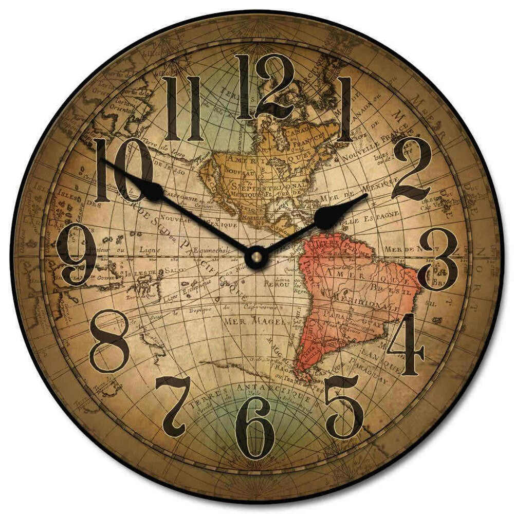 large wall vincenzo world map clock 10 48 whisper quiet non ticking ebay. Black Bedroom Furniture Sets. Home Design Ideas