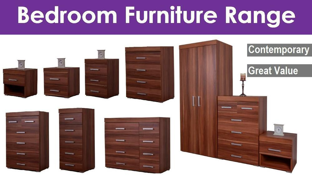 Bedroom Furniture Set Wardrobe Chest Bedside Walnut Ebay