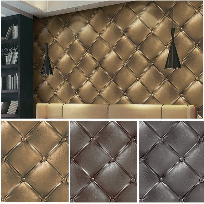 3d Leather Textured Wallpaper Gold Grey Brown Vinyl