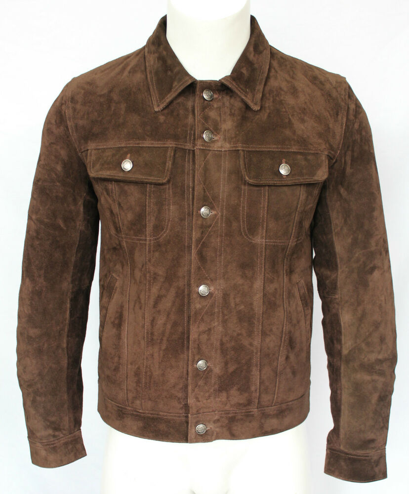 Mens 1280 brown suede trucker stylish classic casual shirt for Mens shirts with leather