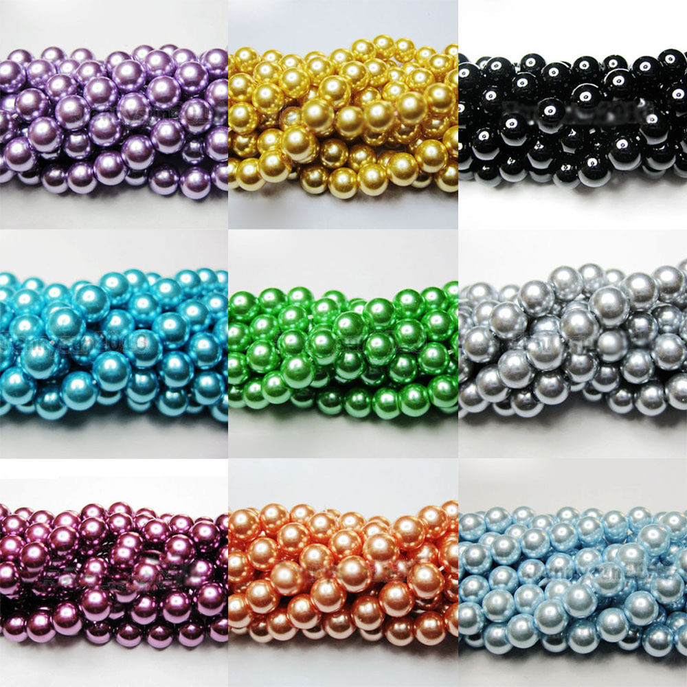 Necklace Beads: 100X Czech Glass Pearl Round Loose Beads Jewelry Making