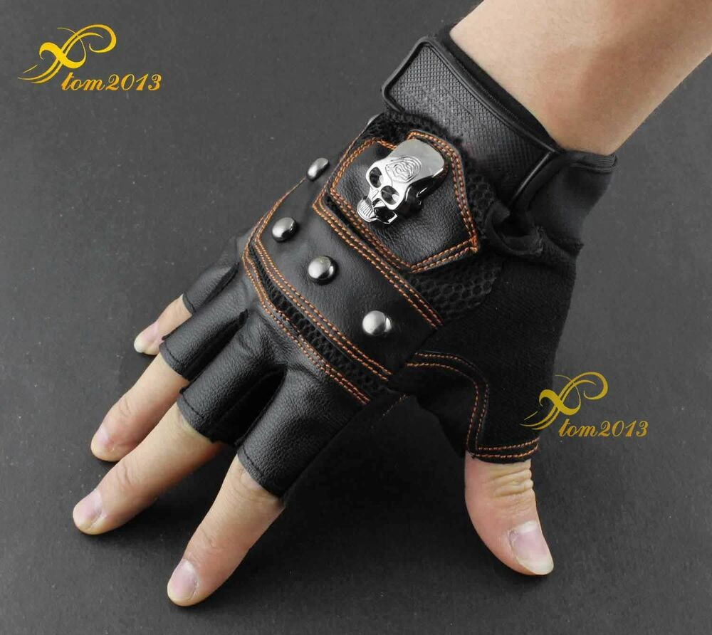 New Skull Logo Mens Leather Biker Motorcycle Training Driving Fingerless Gloves Ebay