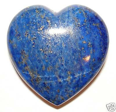 CARVED LAPIS LAZULI Crystal Heart W Description Card