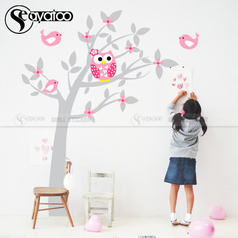 Owl Tree Flowers Birds Vinyl Wall Sticker Decal DIY Nursery Kids Baby Room De