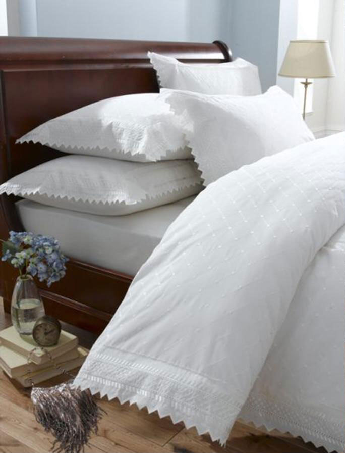 White Vintage Lace Broderie Anglaise Bedding Duvet Cover