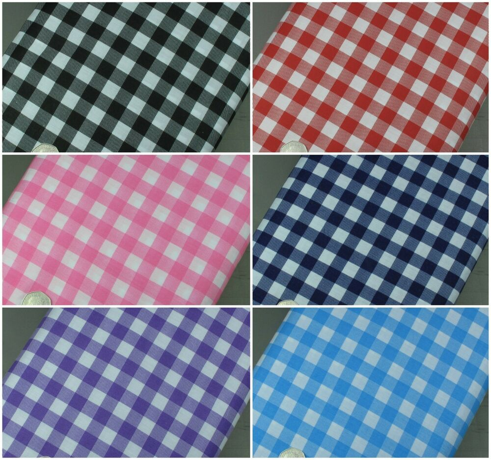 Gingham polycotton fabric 1 2 check 45 wide 114cm high for Gingham fabric