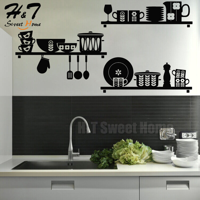 Kitchen art removable vinyl wall sticker decal mural cafe for Ebay dining room wall art