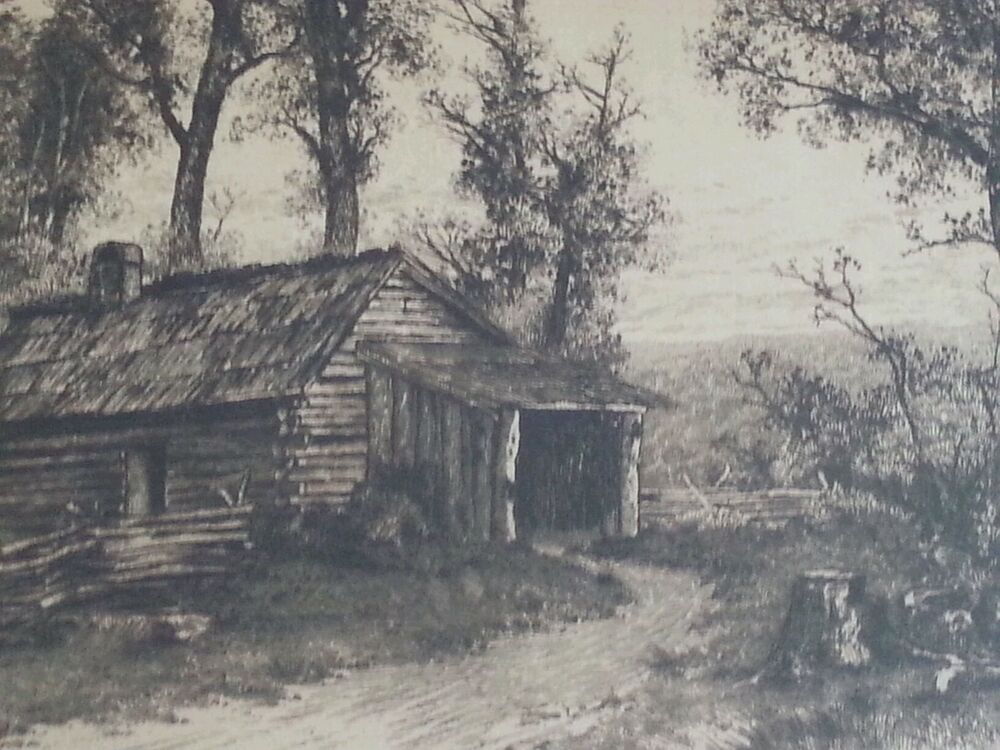 S original etching quot birthplace of ulysses grant log