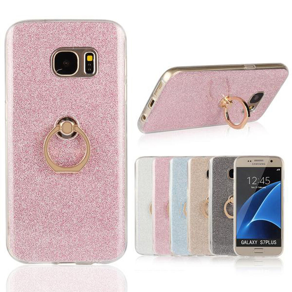 360 Rotation Stand Soft Gel Tpu Bling Glitter Case Cover