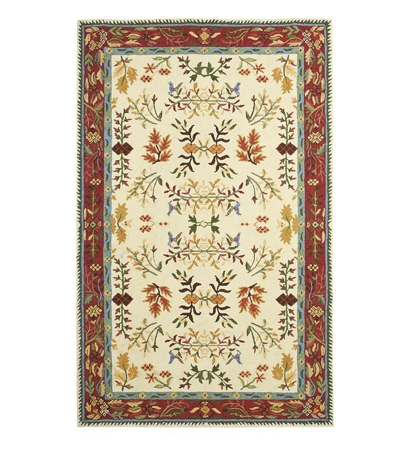 Hand Knotted Hand Hooked Leaves Folk Art Rug 2 3 Quot X 8