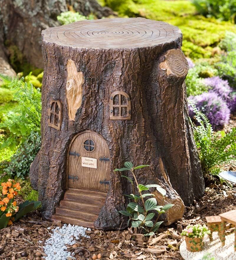 Whimsical Fairy Garden Tree Stump Stool Ebay