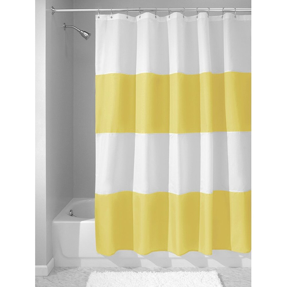 Waterproof Shower Curtain Yellow And White Modern Home Bathroom Decor Striped Ebay