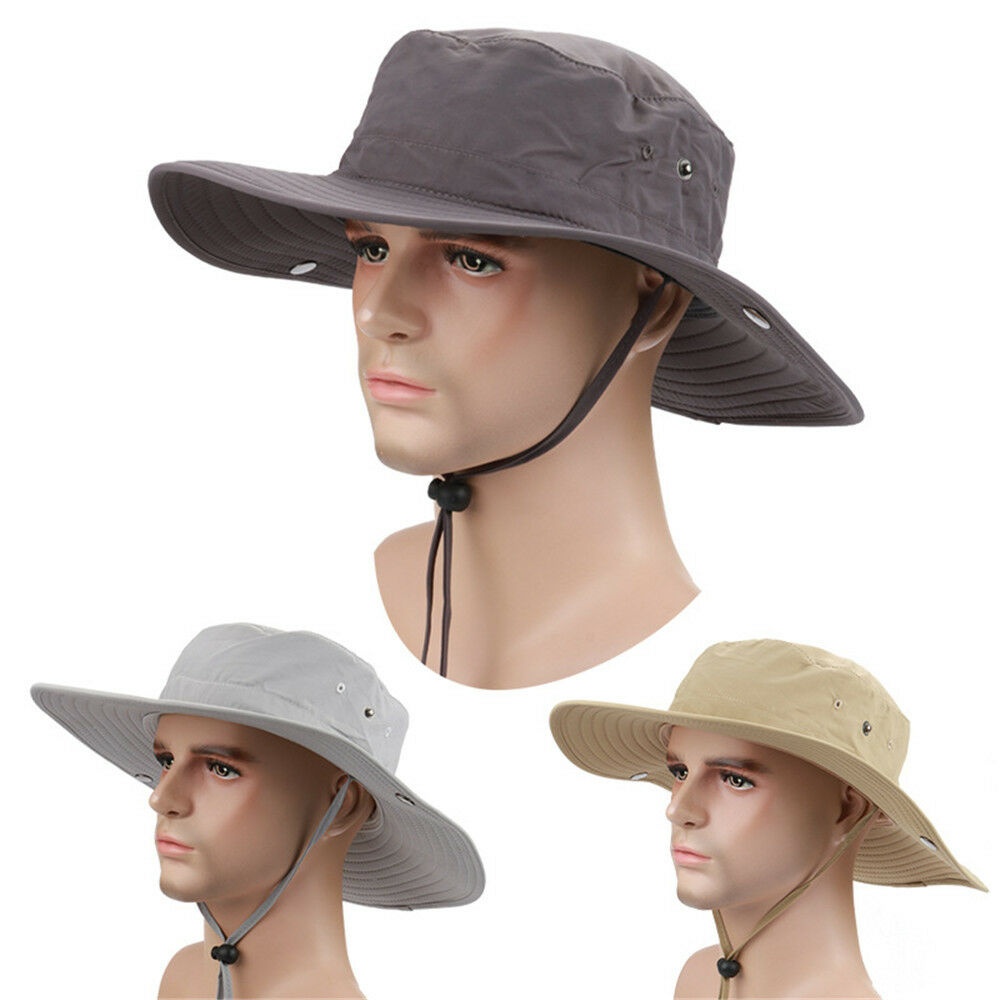 New men 39 s hunting fishing outdoor military wide brim caps for Fishing boonie hat