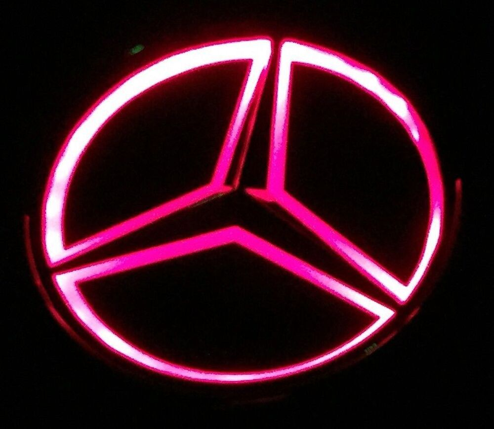 Red universal replica led illuminated star emblem for for Mercedes benz insignia