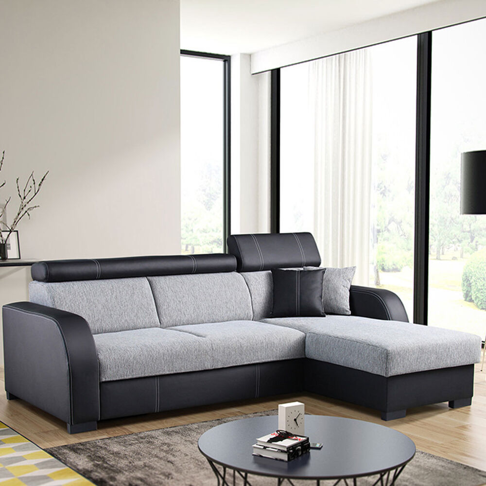 ecksofa deco mit schlaffunktion sofa couchgarnitur eckcouch bettkasten ecke ebay. Black Bedroom Furniture Sets. Home Design Ideas