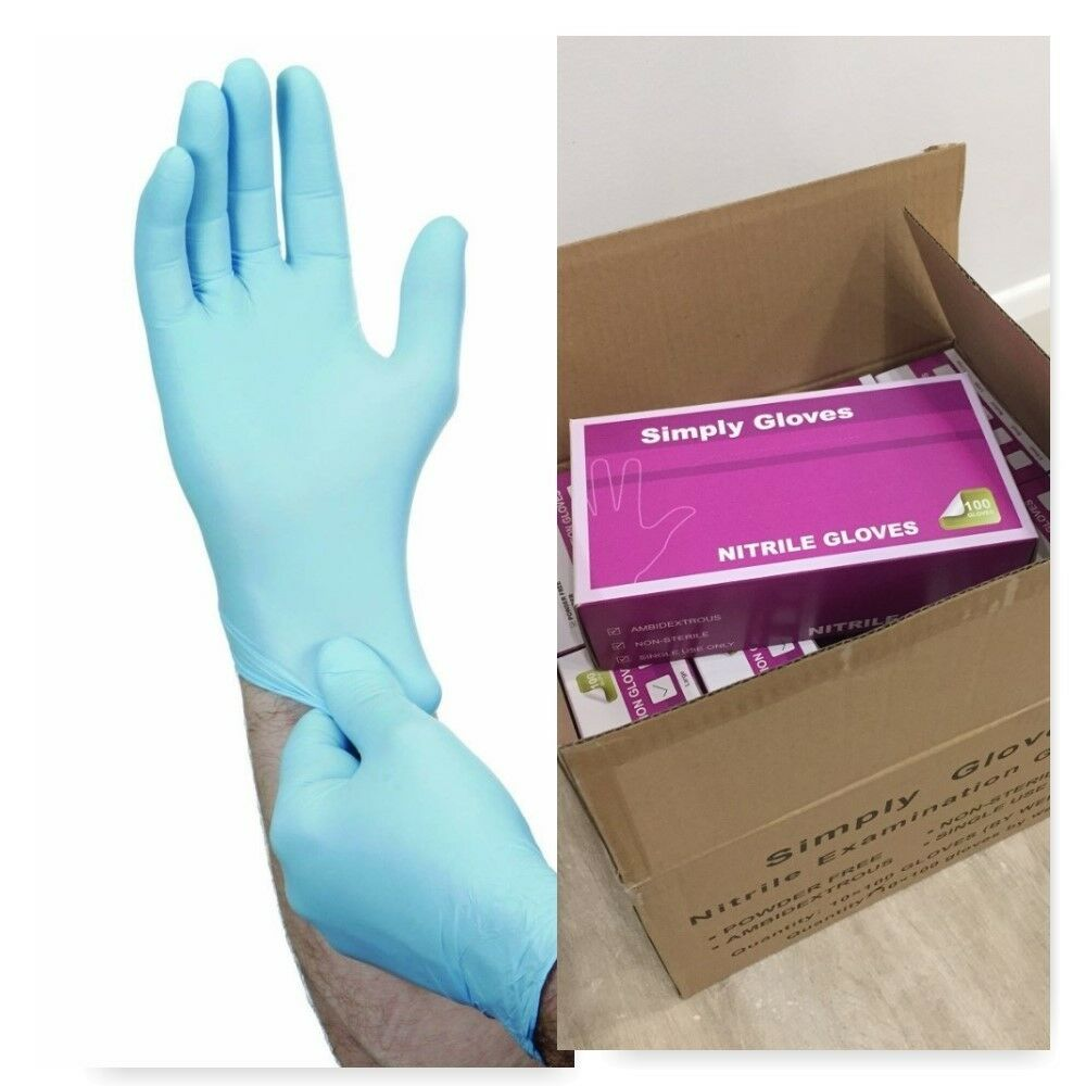 Box of 1000 disposable nitrile blue gloves powder free for Diy plastic gloves