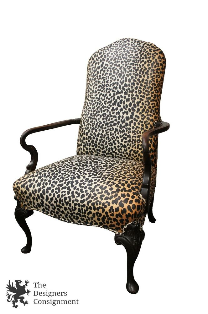 Mid Century Mahogany Arm Chair Leopard Upholstery Queen ...