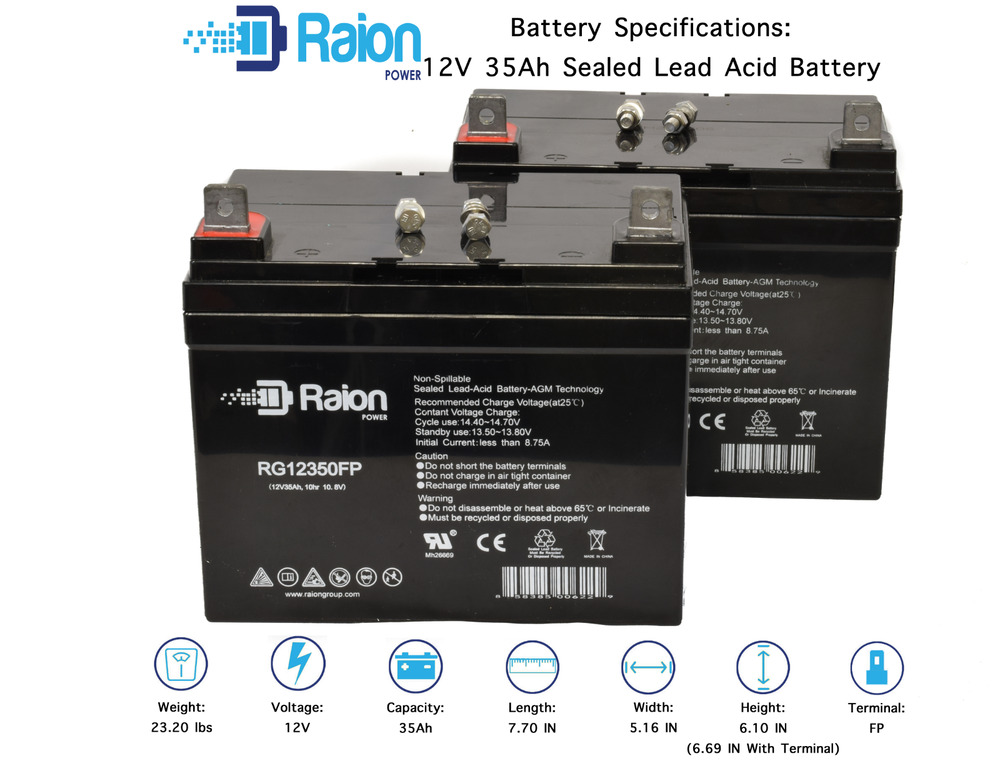 Raion 2 Pack Compatible Wheelchair Batteries For Pride