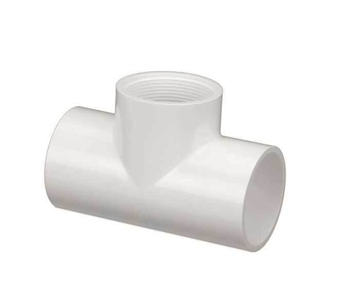 Pvc tee pipe fitting socket thread inch