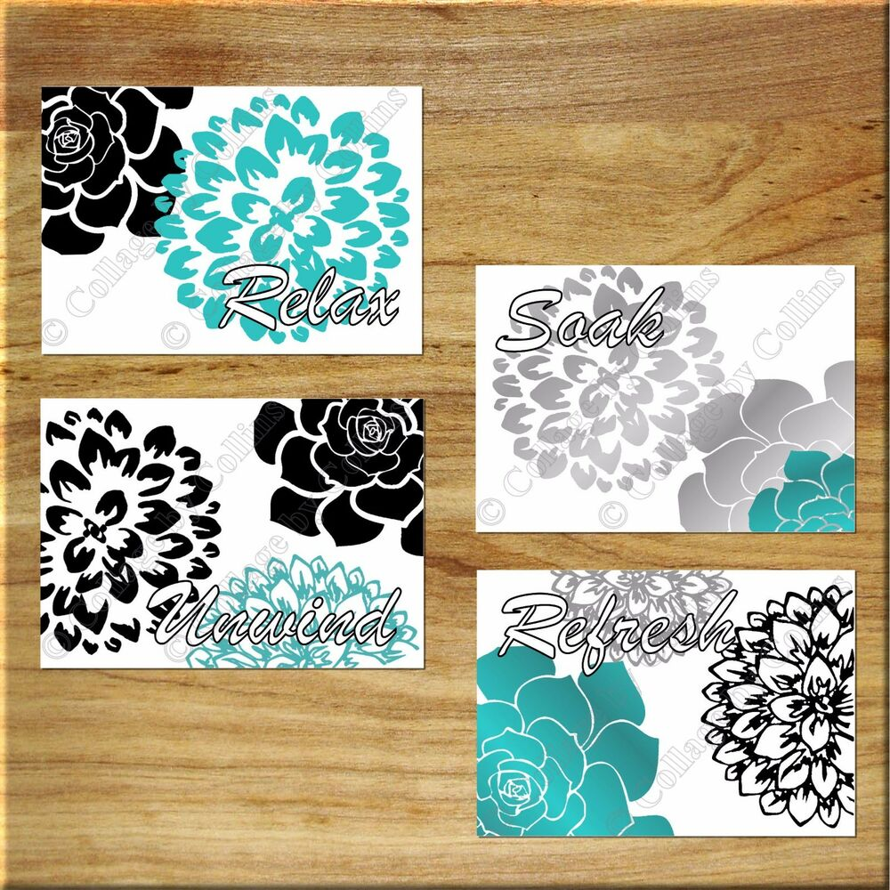 Black teal gray bathroom wall art prints decor flower for Teal and grey bathroom sets