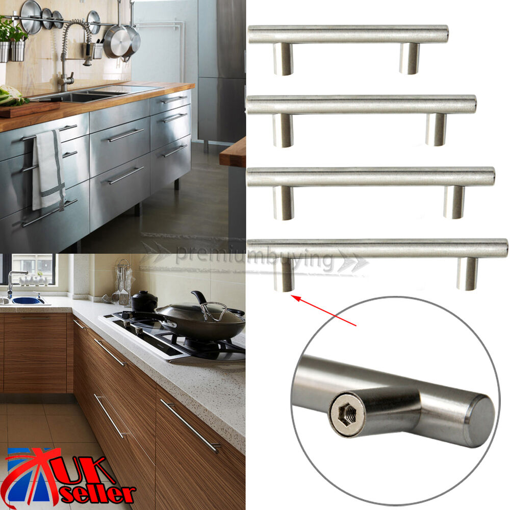 T bar stainless steel kitchen cabinet cupboard door for Bar handles for kitchen cabinets