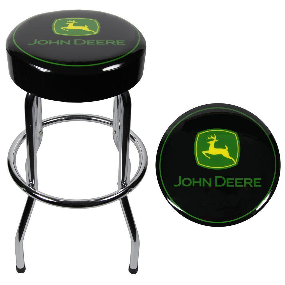 John Deere Garage Stool Plasticolor Padded Chrome Metal