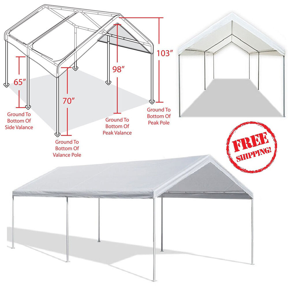 Outdoor Carport Garage Tent 10x20 Steel Frame Car Canopy
