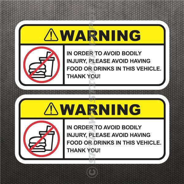 Funny no food drink warning sticker set vinyl decal jdm - Stickers protection cuisine ...