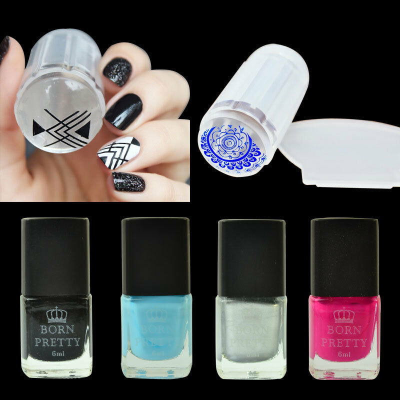 Black Nail Polish Ebay: BORN PRETTY Nail Art Kit Black Silver Stamping Polish Set