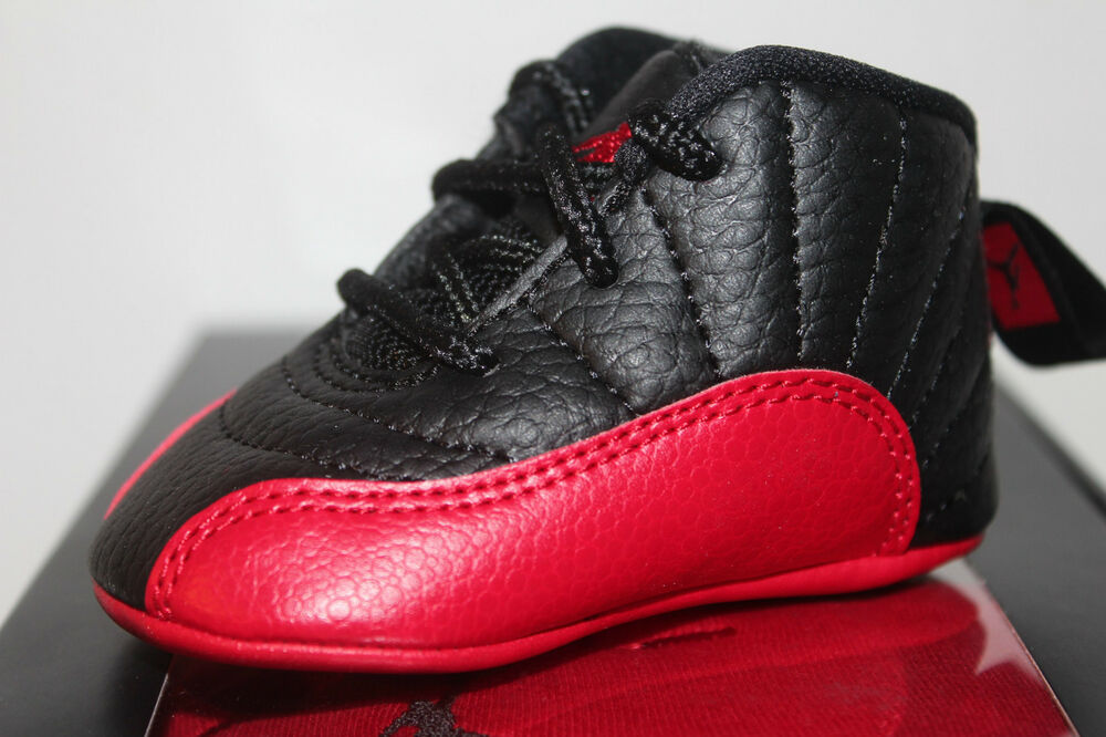 c2ad11dbc4e5c9 Air Jordan Retro 12 XII Flu Game Black Red Sneakers Toddler s GP Size 1C 2C  3C