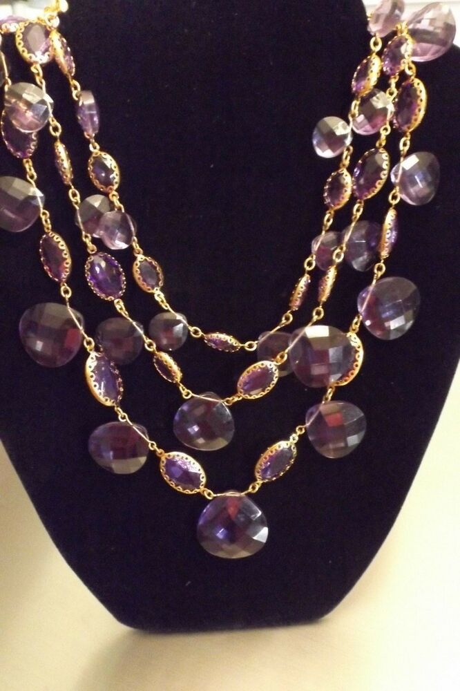Joan rivers gold tone purple amethyst multi strand for Joan rivers jewelry necklaces