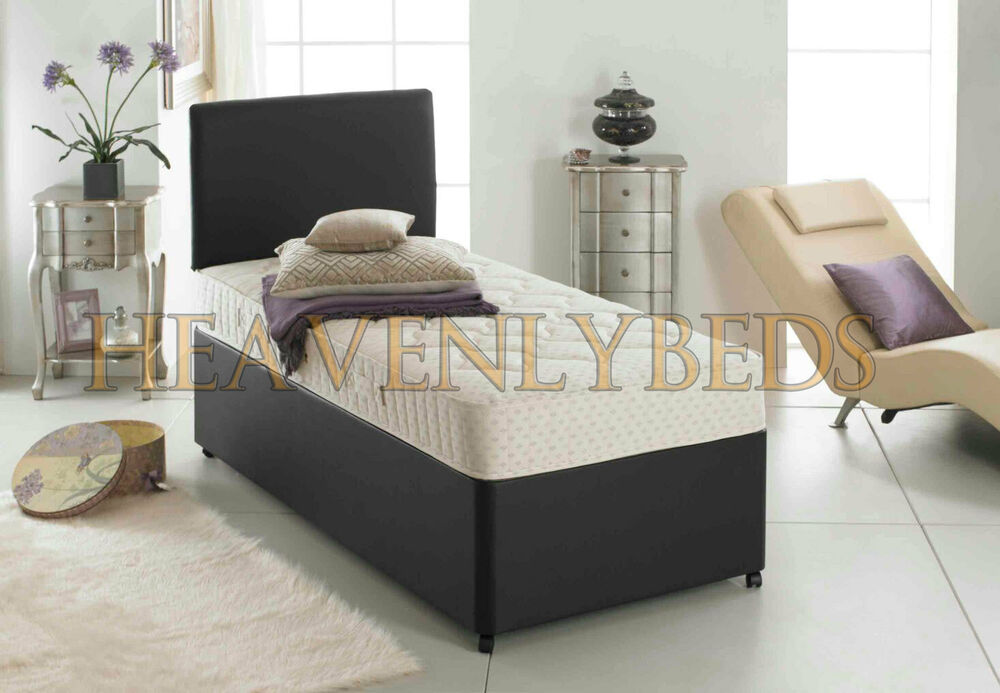 3ft single faux leather divan bed quilted mattress for Single divan with mattress and storage