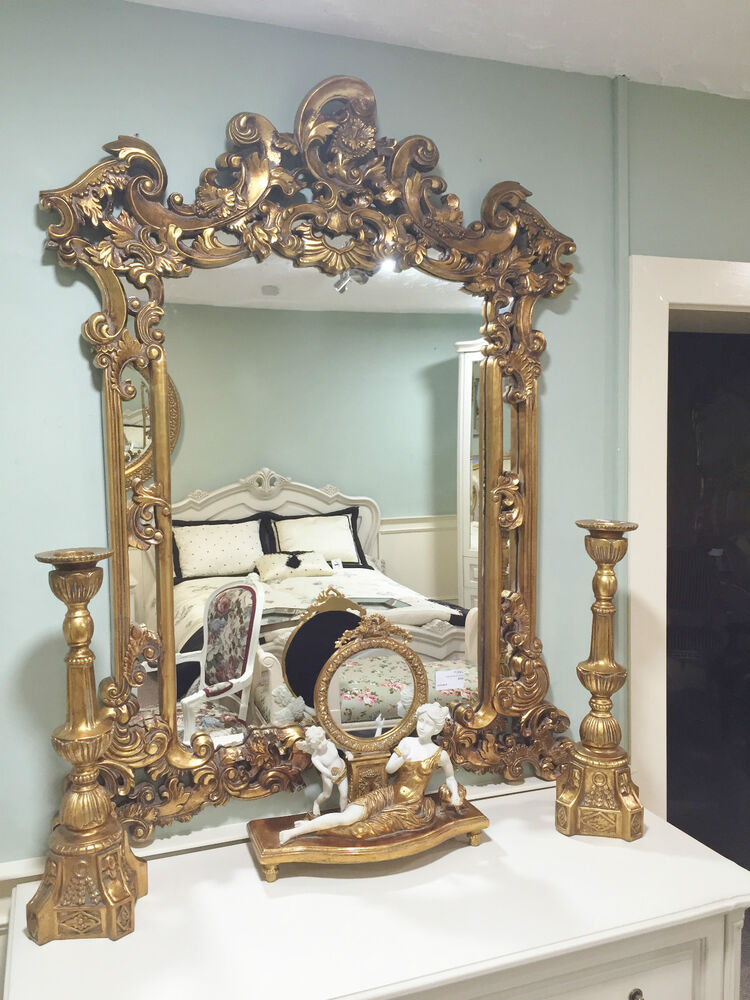 gold french shabby chic antique style rococo ornatewall mirror rectangular large ebay. Black Bedroom Furniture Sets. Home Design Ideas